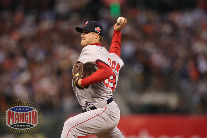 SAN FRANCISCO - JULY 10:  Jonathan Papelbon of the Boston Red Sox and American League pitches against the National League during the All Star Game at AT&T Park in San Francisco, California on July 10, 2007.  Photo by Brad Mangin