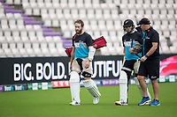 Kane Williamson and Tom Latham head to the batting nets during a training session ahead of the ICC World Test Championship Final at the Hampshire Bowl on 17th June 2021