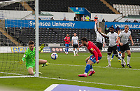 20th April 2021; Liberty Stadium, Swansea, Glamorgan, Wales; English Football League Championship Football, Swansea City versus Queens Park Rangers;  Ilias Chair of Queens Park Rangers shoots at goal but its saved by Freddie Woodman of Swansea City
