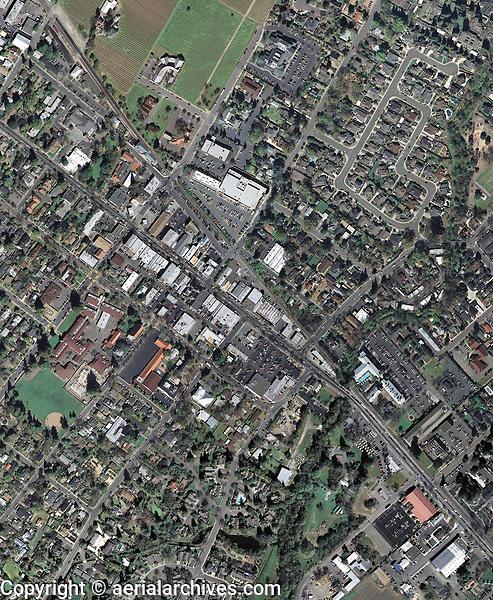 aerial photo map of St. Helena, Napa, California