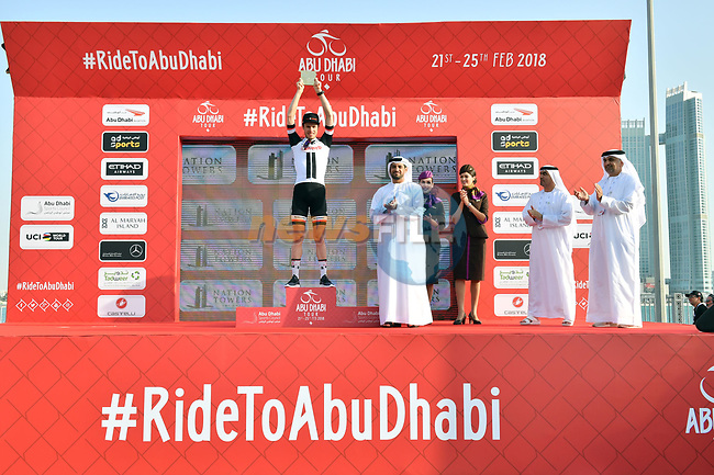 Phil Bauhaus (GER) Team Sunweb wins Stage 3 of the 2018 Abu Dhabi Tour, Nation Towers Stage running 133km from Nation Towers to Big Flag, Abu Dhabi, United Arab Emirates. 23rd February 2018.<br /> Picture: LaPresse/Massimo Paolone | Cyclefile<br /> <br /> <br /> All photos usage must carry mandatory copyright credit (© Cyclefile | LaPresse/Massimo Paolone)