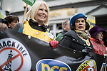 © Joel Goodman - 07973 332324 . 12/11/2016 . Manchester , UK . BIANCA JAGGER (r) . Approximately 2000 people march and rally against Fracking in Manchester City Centre . Photo credit : Joel Goodman