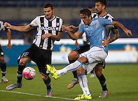 Calcio, Serie A: Lazio vs Udinese. Roma, stadio Olimpico, 13 settembre 2015.<br /> Lazio's Alessandro Matri, center, kicks to score his second goal during the Italian Serie A football match between Lazio and Udinese at Rome's Olympic stadium, 13 September 2015.<br /> UPDATE IMAGES PRESS/Isabella Bonotto