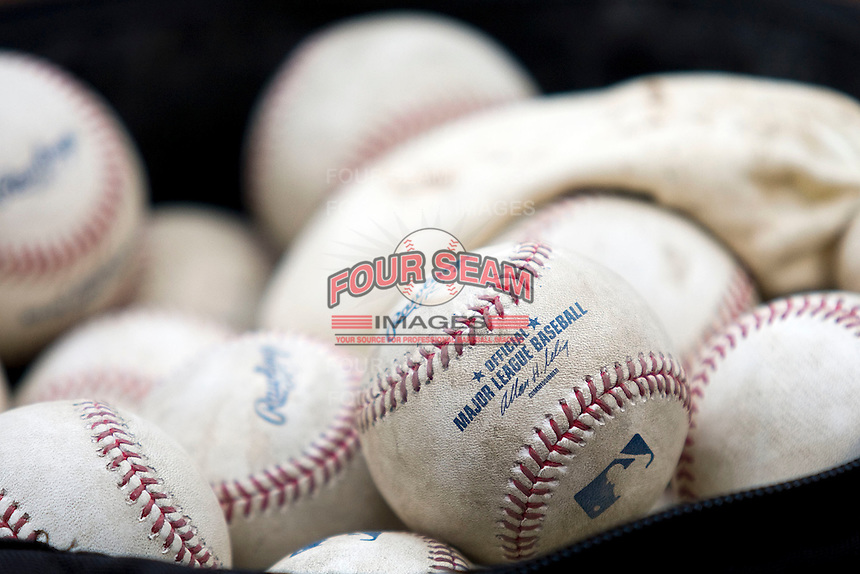 Major League baseballs on May 11, 2011 at the Rangers Ballpark in Arlington, Texas. (Photo by Andrew Woolley / Four Seam Images)