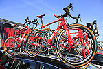 BMC Racing Team Gran Fondo bikes on the team car at sign on before the start of the 113th edition of the Paris-Roubaix 2015 cycle race held over the cobbled roads of Northern France. 12th April 2015.<br /> Photo: Eoin Clarke www.newsfile.ie