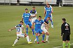 Getafe CF's Jaime Mata (c) and Atalanta BC's Alejandro Gomez (l) and Robin Gosens during friendly match. August 10,2019. (ALTERPHOTOS/Acero)