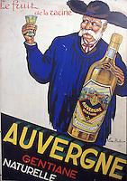 France/15/Cantal/Rioms es Montagne: Ancienne publicité pour la Gentiane - Espace Avèze 5 rue de la Gentiane