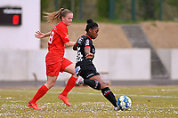 Martyna Rakowicz (38) of Woluwe and Esther Buabadi (24) of Zulte-Waregem  pictured during a female soccer game between FC Femina White Star Woluwe and SV Zulte Waregem on the fifth matchday of play off 2 in the 2020 - 2021 season of Belgian Scooore Womens Super League , Saturday 8 th of May 2021  in Woluwe , Belgium . PHOTO SPORTPIX.BE | SPP | DAVID CATRY