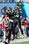 North Texas Mean Green defensive back Zed Evans (1) and North Texas Mean Green wide receiver Brandon Johnson  (46) in action during the Heart of Dallas Bowl game between the North Texas Mean Green and the UNLV Rebels at the Cotton Bowl Stadium in Dallas, Texas. UNT defeats UNLV 36 to 14.
