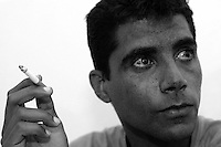 Zakariya Zabeida leader of the al-Aqsa Martyrrs Brigades of Jenin region in the West Bank, during an interview at Jenin refugee camp, April 28, 2004. Zakariya is considered the top wanted Palestinian man in the region by the Israeli forces. Photo by Quique Kierszenbaum
