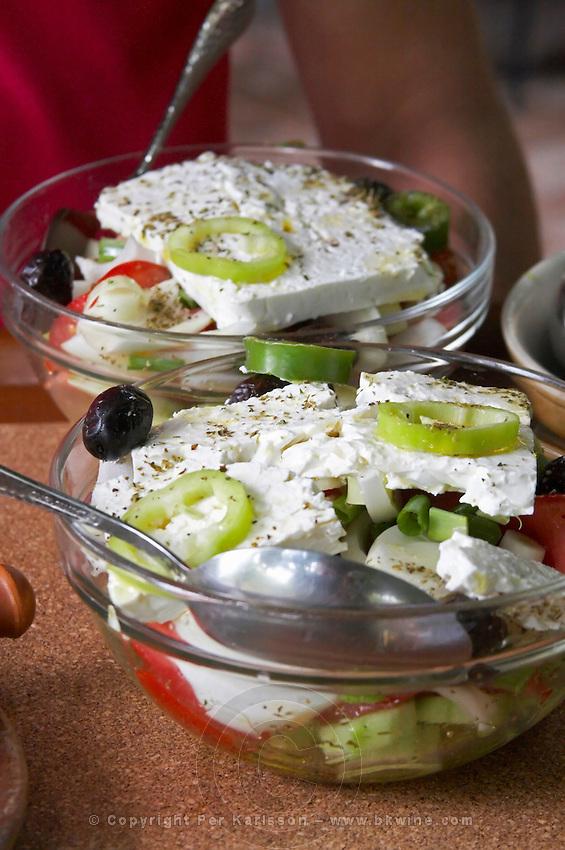 Greek salad. Rakokazano restaurant in Strantza village Naoussa. Macedonia, Greece.