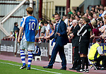 Hearts v St Johnstone...04.08.12.Steve Lomas has words with Liam Craig.Picture by Graeme Hart..Copyright Perthshire Picture Agency.Tel: 01738 623350  Mobile: 07990 594431