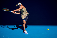 11th February 2021, Melbourne, Victoria, Australia; Anastasia Potapova of Russia returns the ball during round 3 of the 2021 Australian Open on February 12 2020, at Melbourne Park in Melbourne, Australia.