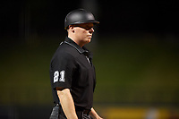 Home plate umpire Junior Valentine during an Arizona Fall League game between the Glendale Desert Dogs and Scottsdale Scorpions on September 20, 2019 at Salt River Fields at Talking Stick in Scottsdale, Arizona. Scottsdale defeated Glendale 3-2. (Zachary Lucy/Four Seam Images)