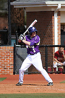 James Madison University infielder Chad Carroll #1 at bat during a game against the Boston College Eagles at Watson Stadium at Vrooman Field on February 18, 2012 in Conway, SC.  Boston College defeated James Madison 8-5.  (Robert Gurganus/Four Seam Images)