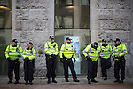 © Joel Goodman - 07973 332324 . 02/10/2016 . Birmingham , UK . Police at a TUC demonstration in Victoria Square in front of Birmingham Town Hall , against the Conservative Party during the first day of the Conservative Party Conference at the International Convention Centre in Birmingham . Photo credit : Joel Goodman