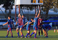 Rahui players celebrate winning the Horowhenua-Kapiti premier club rugby union final between Rahui and Shannon at Levin Domain in Levin, New Zealand on Saturday, 8 August 2020. Photo: Dave Lintott / lintottphoto.co.nz