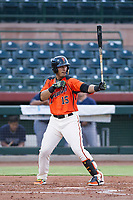 AZL Giants designated hitter Ricardo Genoves (15) at bat against the AZL Padres 2 on July 13, 2017 at Scottsdale Stadium in Scottsdale, Arizona. AZL Giants defeated the AZL Padres 2 11-3. (Zachary Lucy/Four Seam Images)