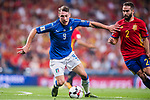 Andrea Belotti (C) of Italy fights for the ball with Daniel Carvajal (R) of Spain during their 2018 FIFA World Cup Russia Final Qualification Round 1 Group G match between Spain and Italy on 02 September 2017, at Santiago Bernabeu Stadium, in Madrid, Spain. Photo by Diego Gonzalez / Power Sport Images