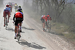 Mechanical forAndrea Garosio (ITA) Bahrain-Merida during the Strade Bianche 2019 running 184km from Siena to Siena, held over the white gravel roads of Tuscany, Italy. 9th March 2019.<br /> Picture: LaPresse/Fabio Ferrari   Cyclefile<br /> <br /> <br /> All photos usage must carry mandatory copyright credit (© Cyclefile   LaPresse/Fabio Ferrari)
