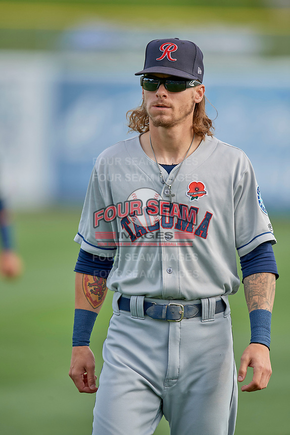 Ian Miller (7) of the Tacoma Rainiers before the game against the Salt Lake Bees at Smith's Ballpark on May 27, 2019 in Salt Lake City, Utah. The Bees defeated the Rainiers 5-0. (Stephen Smith/Four Seam Images)