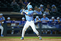 Zack Gahagan (10) of the North Carolina Tar Heels at bat against the North Carolina State Wolfpack in Game Twelve of the 2017 ACC Baseball Championship at Louisville Slugger Field on May 26, 2017 in Louisville, Kentucky. The Tar Heels defeated the Wolfpack 12-4. (Brian Westerholt/Four Seam Images)