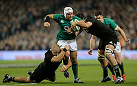 Saturday 17th November 2018 | Ireland vs New Zealand<br /> <br /> Rory Best is tackled by Owen Franks and Sam Whitelock during 2018 Guinness Series between Ireland and Argentina at the Aviva Stadium, Lansdowne Road, Dublin, Ireland. Photo by John Dickson / DICKSONDIGITAL