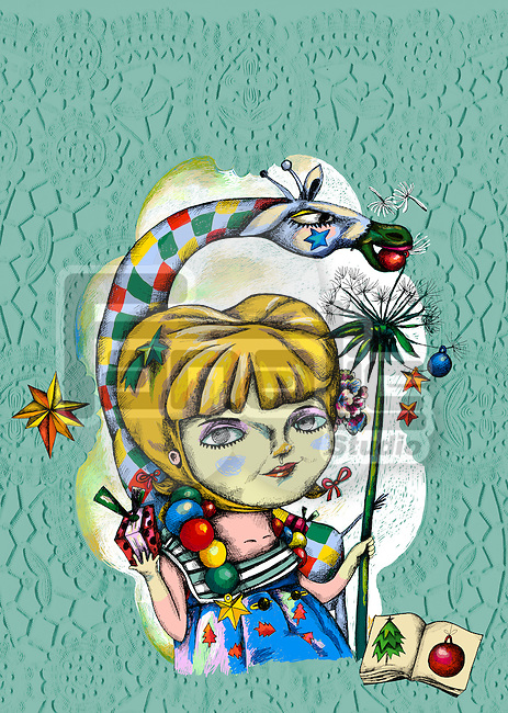 Illustration of girl with Christmas ornaments over green background