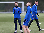 St Johnstone Training...   29.01.21<br />Craig Bryson pictured with Callum Hendry and Liam Gordon during a training session at McDiarmid Park this morning ahead of tomorrows game at Kilmarnock.<br />Picture by Graeme Hart.<br />Copyright Perthshire Picture Agency<br />Tel: 01738 623350  Mobile: 07990 594431