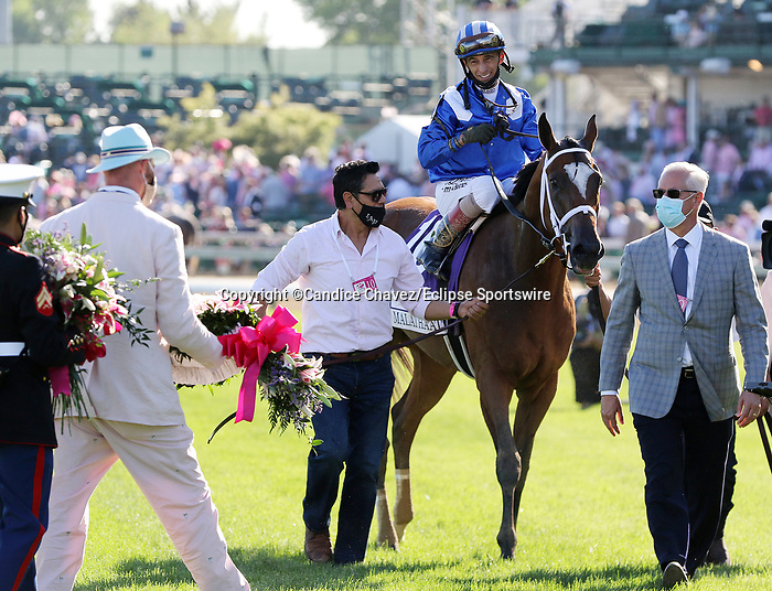 April 30,, 2021: #10 Malathaat and jockey John Velazquez win the 147th Longines Kentucky Oaks for owner Shadwell Stable and trainer Todd Pletcher  at Churchill Downs.  Louisville, KY on April 30, 2021.  Candice Chavez/ESW/CSM