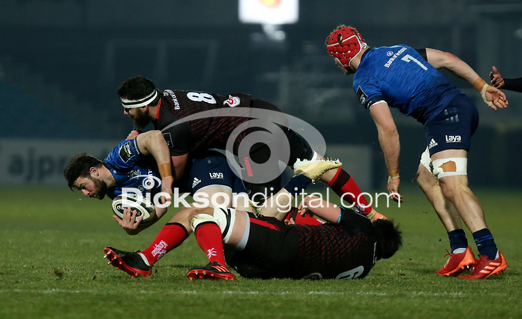 8th January 2021 | Leinster vs Ulster <br /> <br /> Robbie Henshaw is tackled by Marcell Coetzee and Greg Jones during the PRO14 Round 11 clash between Leinster Rugby and Ulster Rugby at the RDS Arena, Ballsbridge, Dublin, Ireland. Photo by John Dickson/Dicksondigital