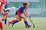 GER - Mannheim, Germany, October 09: During the women hockey match between Mannheimer HC (blue) and Ruesselsheimer RK (red) on October 9, 2016 at Mannheimer HC in Mannheim, Germany. Final score 6-0 (HT 1-0). (Photo by Dirk Markgraf / www.265-images.com) *** Local caption *** Sonja Zimmermann #77 of Mannheimer HC