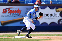 Wilmington Blue Rocks third baseman Hunter Dozier (18) waits for a throw during a game against the Myrtle Beach Pelicans on April 27, 2014 at Frawley Stadium in Wilmington, Delaware.  Myrtle Beach defeated Wilmington 5-2.  (Mike Janes/Four Seam Images)
