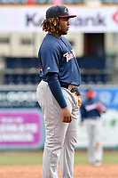 Vladimir Guerrero Jr. (27) of the New Hampshire Fisher Cats stands at the third base position during a game against the Hartford Yard Goats at Dunkin Donuts Park on April 8, 2018 in Hartford, Connecticut.<br /> (Gregory Vasil/Four Seam Images)