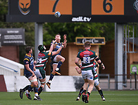 29th May 2021; Sixways Stadium, Worcester, Worcestershire, England; Premiership Rugby, Worcester Warriors versus Leicester Tigers; Ollie Lawrence of Worcester Warriors catches the high kick under pressure from Cameron Henderson of Leicester Tigers