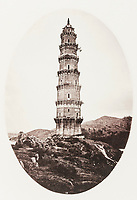 BNPS.co.uk (01202 558833)<br /> Pic: ForumAuctions/BNPS<br /> <br /> Pictured: There are shots of Oriental pagodas<br /> <br /> Rarely seen 150 year old photos taken by one of the first British photographers to explore China have emerged for sale for £20,000.<br /> <br /> Scotsman John Thomson (1837-1921) travelled to the Far East in 1868 and established a studio in Hong Kong, using it as a base to explore remote parts of the vast country for the next four years, photographing landmarks, scenery and the native population.<br /> <br /> In many cases, he was the first Westerner the people he photographed had encountered.<br /> <br /> One striking image shows a prisoner in chains with a head poking through a board covered in Chinese symbols, perhaps listing his misdemeanours. In another, a man poses next to a giant camel statue in the grounds around the Ming tombs of the Forbidden City.<br /> <br /> Almost 100 of his photos feature in a rare first edition of 'Thomson Illustrations of China and Its People' (1873), which is going under the hammer with London-based Forum Auctions.