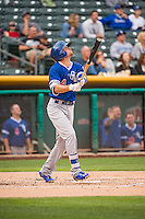 Buck Britton (4) of the Oklahoma City Dodgers at bat against the Salt Lake Bees in Pacific Coast League action at Smith's Ballpark on May 27, 2015 in Salt Lake City, Utah.  (Stephen Smith/Four Seam Images)