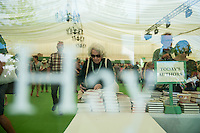 Tuesday 31 May 2016. Hay on Wye, UK<br /> Pictured: A woman browses the books at hay <br /> Re: The 2016 Hay festival take place at Hay on Wye, Powys, Wales