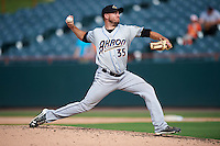 Akron RubberDucks relief pitcher Cole Sulser (35) during the second game of a doubleheader against the Bowie Baysox on June 5, 2016 at Prince George's Stadium in Bowie, Maryland.  Bowie defeated Akron 12-7.  (Mike Janes/Four Seam Images)