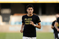 SAN JOSE, CA - SEPTEMBER 16: Marco Farfan #32 of the Portland Timbers during warmups before a game between Portland Timbers and San Jose Earthquakes at Earthquakes Stadium on September 16, 2020 in San Jose, California.