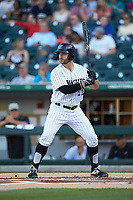 Daniel Palka (22) of the Charlotte Knights at bat against the Toledo Mud Hens at BB&T BallPark on April 23, 2019 in Charlotte, North Carolina. The Knights defeated the Mud Hens 11-9 in 10 innings. (Brian Westerholt/Four Seam Images)