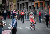 Andrea Vendrame (ITA/Androni Giocattoli) 'casually' on his way to 'work' at the race start in Ivrea<br /> <br /> Stage 15: Ivrea to Como (232km)<br /> 102nd Giro d'Italia 2019<br /> <br /> ©kramon
