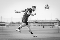 BRADENTON, FL - JANUARY 21: Paul Arriola heads the ball during a training session at IMG Academy on January 21, 2021 in Bradenton, Florida.