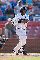 First baseman Brandon Allen (22) of the Winston-Salem Warthogs follows through on his swing versus the Kinston Indians at Ernie Shore Field in Winston-Salem, NC, Saturday, May 17, 2008.