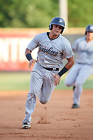 Pulaski Yankees catcher Carlos Narvaez (48) runs the bases during a game against the Greeneville Reds on July 27, 2018 at Pioneer Park in Tusculum, Tennessee.  Greeneville defeated Pulaski 3-2.  (Mike Janes/Four Seam Images)