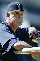 Seattle Mariners Manager Lou Piniella before a 2002 MLB season game against the Los Angeles Angels at Angel Stadium, in Los Angeles, California. (Larry Goren/Four Seam Images)