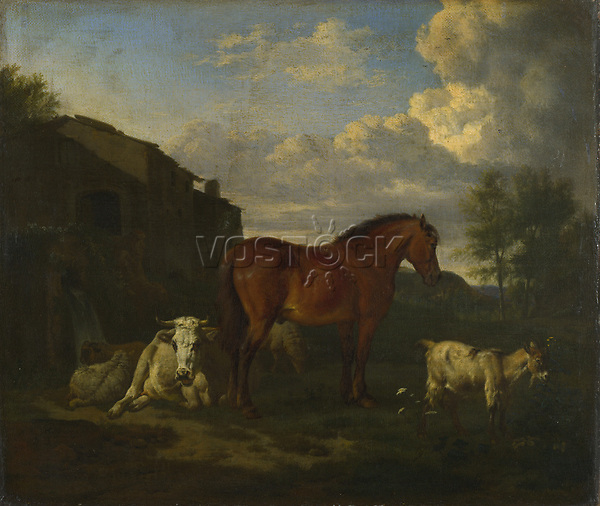 Full title: Animals near a Building<br /> Artist: Adriaen van de Velde<br /> Date made: 1663<br /> Source: http://www.nationalgalleryimages.co.uk/<br /> Contact: picture.library@nationalgallery.co.uk<br /> <br /> Copyright © The National Gallery, London