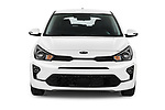 Car photography straight front view of a 2021 KIA Rio More 5 Door Hatchback Front View