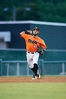 Richmond Flying Squirrels third baseman Ali Castillo (19) throws to first base during a game against the Trenton Thunder on May 11, 2018 at The Diamond in Richmond, Virginia.  Richmond defeated Trenton 6-1.  (Mike Janes/Four Seam Images)