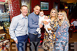 The christening of Donnacha Gearoid Kissane from Tralee in Benners Hotel on Saturday.<br /> L to r: David White (GF), Gary, Odhran, baby Donnacha and Michelle Kissane and Clodagh O'Hara (GM).